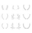 Hand-drawn branches graphic design elements set