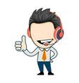 happy businessman wearing earphones and showing vector image