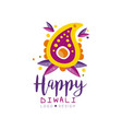 happy diwali logo design hindu festival of lights vector image