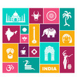icons of india flat icon with traditional vector image vector image