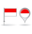 Indonesian pin icon and map pointer flag vector image