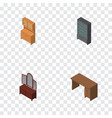 isometric design set of cupboard sideboard table vector image