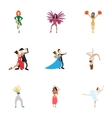 kind dances icons set cartoon style vector image vector image