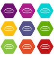 lips with lines drawn around it icon set color vector image vector image