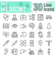 medicine line icon set hospital symbols vector image vector image