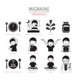 Migraine treatments icons set monochrome vector image