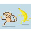 monkey run away from big banana cartoon vector image