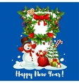 New Year card with snowman gift and wreath vector image vector image