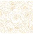 pattern blossoming rose buds golden outline vector image vector image