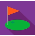 Red golf flag icon flat style vector image vector image