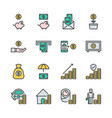 saving money and investment in colorline icon set vector image vector image