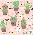 seamless pattern with cartoon funny cactus vector image