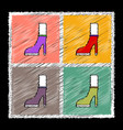 set of flat shading style female heel silhouette vector image vector image