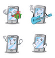 set of iphone character with gift guitar smirking vector image vector image