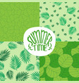 set of patterns with foliage plants or leaves vector image vector image