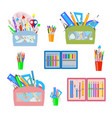 set of school office in pencil cases vector image