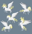 set white pegasuses with wings graphics vector image