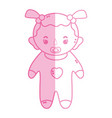 silhouette baby girl with pacifier and hairstyle vector image vector image