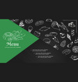 sketch cafe menu elements composition vector image vector image