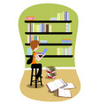 student in library vector image