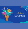 summer scene with ice cream cone filled with vector image