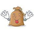 tongue out sack mascot cartoon style vector image