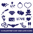 valentines day and love icons eps10 vector image vector image