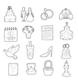 Wedding icons set ouline cartoon style vector image