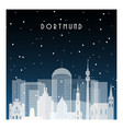 winter night in dortmund night city in flat style vector image vector image