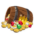 wooden barrel with gold coins and precious stones vector image vector image