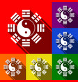 yin and yang sign with bagua arrangement vector image