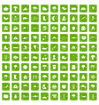 100 clouds icons set grunge green vector image vector image