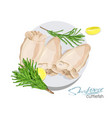 a dish of cuttlefish with lemon vector image vector image