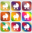 baby pram icon sign Nine buttons with bright vector image vector image