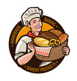 bakery bakeshop logo or label home baking bread vector image