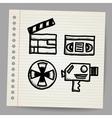 black movie icon doodle set vector image vector image