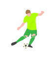 brave football player kicks the ball with his vector image