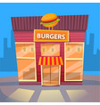 burger eatery in city fast food exterior building vector image vector image