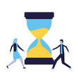 businessman and woman hourglass time vector image vector image