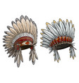 cartoon native american indian chief headdress set vector image