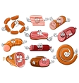 Cartoon sausages bacon steak and roast beef vector image