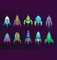 cartoon space rockets space ships icons vector image