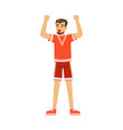 cheering football fan character in red celebrating vector image vector image