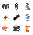coil spring icon set flat style vector image