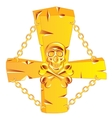 Cross and skull golden vector image vector image