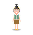 cute little dark haired girl character in green vector image vector image