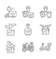 delivery linear icons set plane drone express vector image vector image