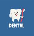 dental tooth thumb up mascot character logo icon vector image vector image