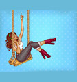 disco woman on swing in headphones pop art vector image vector image