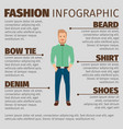 fashion infographic with young hipster man vector image